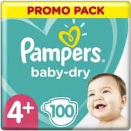 Pampers Baby Dry Luiers Maat 4+ - 100 Luiers Voordeelverpakking