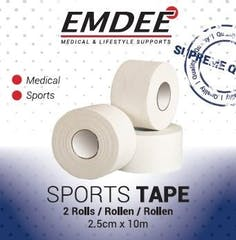 Emdee Sporttape 2,5cm*10m Duo Wit