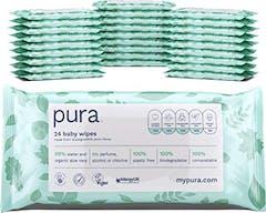 Pura 100% Plasticvrije Biologischafbreekbare Reisverpakking Babydoekjes 672 doekjes (24 handige pakjes  x 28 doekjes)