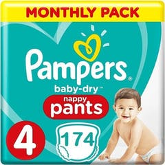 Pampers Baby Dry Nappy Pants Maat 4 - 174 Luierbroekjes Maandbox