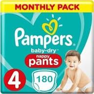 Pampers Baby Dry Nappy Pants Maat 4 - 180 Luierbroekjes Maandbox