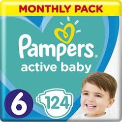 Pampers Active Baby Maat 6 - 124 Luiers Maandbox