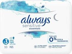 Always Maandverband Sensitive Essentials Night 10 Stuks