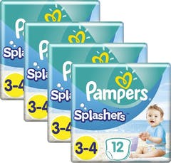 Pampers Splashers Zwemluiers Maat 3/4 - 4 x 12 Stuks Voordeelverpakking