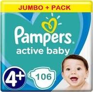 Pampers Active Baby Luiers Maat 4+ - 106 Luiers Voordeelverpakking