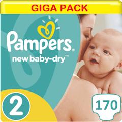 Pampers New Baby-Dry Maat 2 - 170 Luiers Voordeelverpakking