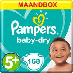 Pampers Luiers Baby Dry Maat 5+ - 168 Luiers Maandbox