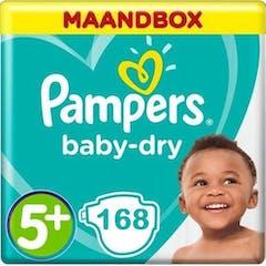 Pampers Baby Dry Maat 5+ - 168 Luiers Maandbox