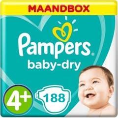 Pampers Baby Dry Maat 4+ - 188 Luiers Maandbox XL