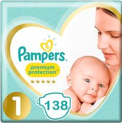 Pampers Premium Protection Maat 1 - 138 Luiers Maandbox