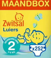 Zwitsal Luiers Newborn Mini Maat 2 - 252 Luiers Maandbox