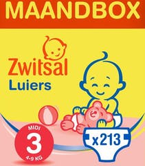 Zwitsal Luiers Midi Maat 3 - 213 Luiers Maandbox
