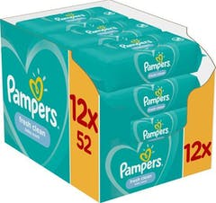 Pampers Billendoekjes Fresh Clean 12 x 52 Stuks Voordeelverpakking