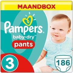 Pampers Baby Dry Pants Maat 3 - 186 Luierbroekjes Maandbox
