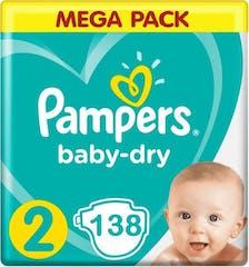 Pampers Baby Dry Maat 2 - 138 Luiers Voordeelverpakking