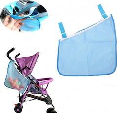 Blauwe Kinderwagen zijkant tas