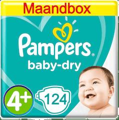 Pampers Baby Dry Maat 4+ 124 Luiers Maandbox