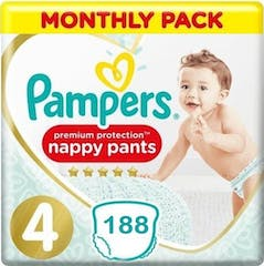 Pampers Premium Protection Pants Maat 4 - 188 Luierbroekjes Maandbox