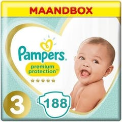 Pampers Premium Protection Maat 3 - 188 Luiers Maandbox