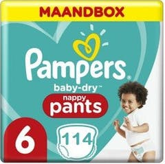 Pampers Baby Dry Pants Luierbroekjes - Maat 6 (15+ kg) - 114 stuks - Maandbox