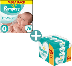 Pampers Premium Protection Procare Maat 0 - 76 Luiers + Pampers Sensitive Billendoekjes 624