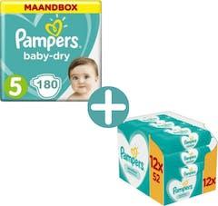 Pampers Baby Dry Maat 5 - 180 Luiers Voordeelverpakking + Pampers Sensitive Billendoekjes 624