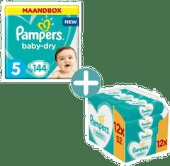 Pampers Baby Dry Maat 5 - 144 luiers + Pampers Sensitive Billendoekjes 624