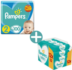 Pampers New Baby Maat 2 - 100 Luiers + Pampers Sensitive Billendoekjes 624