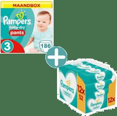 Pampers Baby Dry Pants Maat 3 - 186 Luierbroekjes Maandbox + Pampers Sensitive Billendoekjes 624