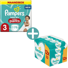 Pampers Baby Dry Pants Maat 3 - 176 Luierbroekjes Maandbox + Pampers Sensitive Billendoekjes 624