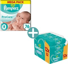 Pampers Premium Protection Procare Maat 0 - 76 Luiers + Pampers Billendoekjes Fresh Clean 624
