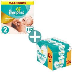 Pampers Premium Care Maat 2 - 132 Luiers Maandbox + Pampers Sensitive Billendoekjes 624