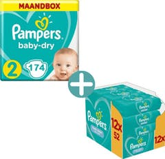 Pampers Baby Dry Maat 2 - 174 Luiers Maandbox + Pampers Billendoekjes Fresh Clean 624