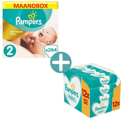 Pampers Premium Care Maat 2 - 264 Luiers Maandbox XL + Pampers Sensitive Billendoekjes 624
