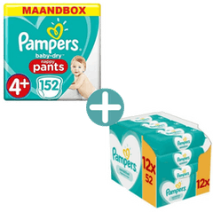Pampers Baby Dry Pants Maat 4+ - 152 Luierbroekjes + Pampers Sensitive Billendoekjes 624