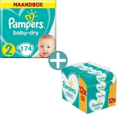Pampers Baby Dry Maat 2 - 174 Luiers Maandbox + Pampers  Billendoekjes Sensitive 624