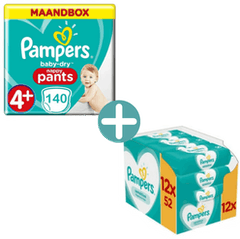 Pampers Baby Dry Pants Maat 4+ - 140 Luierbroekjes Maandbox + Pampers Sensitive Billendoekjes 624
