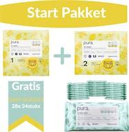 Pura Startpakket - 1 Maandbox Maat 1 en 1 Maandbox Maat 2 + Gratis 672 Pura Babydoekjes Voordeelpakket