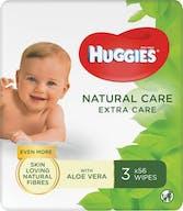 Huggies Natural Care Billendoekjes 3 x 56 babydoekjes  Extra Care