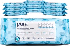 Pura Flushable 100% Plasticvrije Doorspoelbare Babydoekjes - 700 doekjes