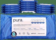 Pura 100% Plasticvrije Flushable Vochtig Toiletpapier  -  560 doorspoelbare doekjes