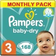 Pampers Baby Dry Maat 3 - 168 Luiers Maandbox