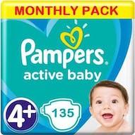 Pampers Active Baby Dry Maat 4+ - 135 Luiers Maandbox