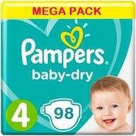 Pampers Baby Dry Luiers Maat 4 - 98 Luiers Voordeelverpakking