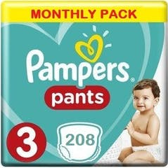 Pampers Baby Dry Pants Maat 3 - 208 Luierbroekjes Maandbox XL