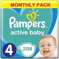 Pampers Active Baby Maat 4 - 208 Luiers Maandbox XL