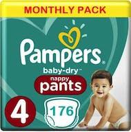 Pampers Baby Dry Pants Maat 4 - 176 Luierbroekjes Maandbox