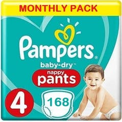 Pampers Baby Dry Pants maat 4 - 168 Luierbroekjes Maandbox