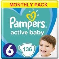 Pampers Active Baby Dry Windeln Größe 6 - 136 Windeln Monatsbox