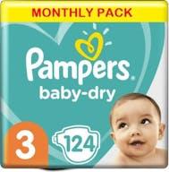 Pampers Baby Dry Windeln Große 3-124 Windeln Monatsbox